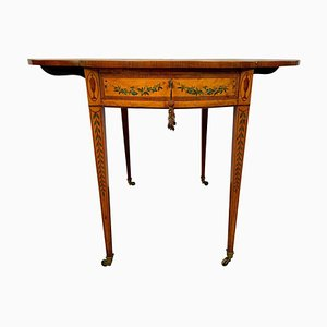 19th Century Sheraton Revival Painted Satinwood Drop-Leaf Table