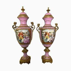 Französische Sèvres Porzellanvasen in Rosa, 20. Jh., 2er Set
