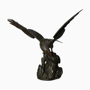 Aigle Antique en Bronze de la Période Meiji, Japon, 19ème Siècle
