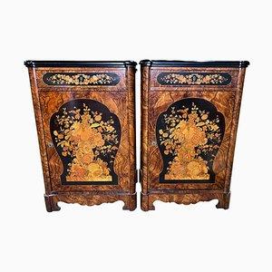 Mobiletti vittoriani intarsiati, XIX secolo, set di 2
