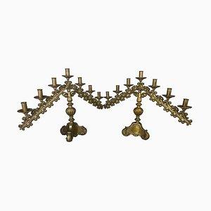 19th Century Brass Church Candelabras, Set of 2