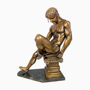 Bronze Wrestler Posing on Corinthian Plinth, 20th Century