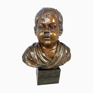 Buste de Jeune Garçon en Bronze par O'brian, 20ème Siècle
