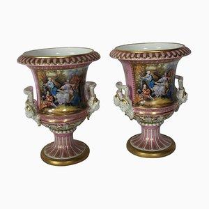 Sevres Porzellan Urnen in Campana Form, 20. Jh., 2er Set
