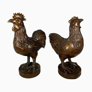 Oriental Bronze Hen and Cockerel, 20th Century, Set of 2