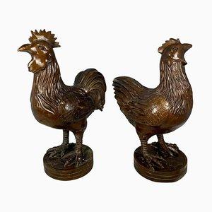 Poule et Coq Oriental en Bronze, 20ème Siècle, Set de 2