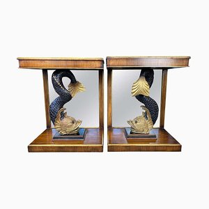 Regency Mirror-Back Dolphin Console Tables, 19th Century, Set of 2