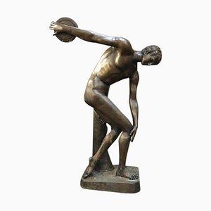 Statue Olympienne de Disque Taille Réelle en Bronze, 20ème Siècle