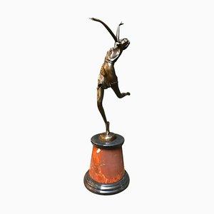 Art Déco Tänzerin aus Bronze von Bruno Zach, 20. Jh