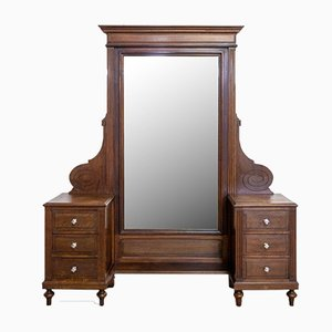 French Full-Length Psyche Mirror or Dressing Table with Drawers, 1940s