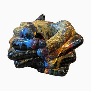 Mehrfarbige italienische handgefertigte Keramikschale von Franco Rama, 1970er