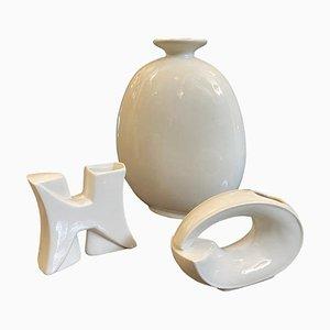 Vases Modernistes en Céramique Blanche, Italie, 1970s, Set de 3