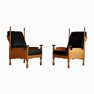 Brutalist Style Oak Easy Chairs