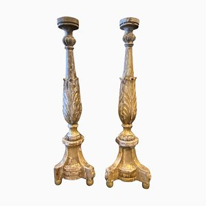 Antique Sicilian Empire Torcheres in Hand-Carved Giltwood, 1840s, Set of 2