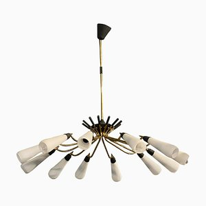 Large Italian Mid-Century Modern Brass and Glass Chandelier in the Style of Stilnovo, 1950s