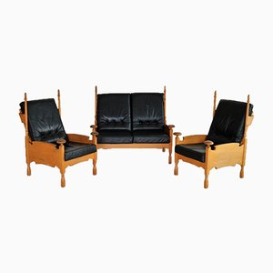 Vintage Brutalist Style Oak Sofa