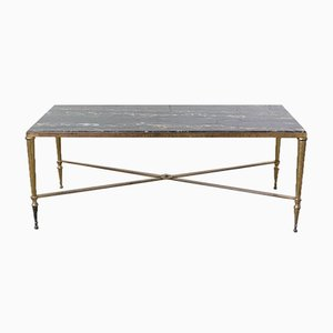 Mid-Century Black Marble and Gilt Brass Edge Coffee Table from Maison Jansen
