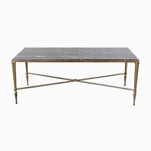 Table Basse Mid-Century en Marbre Noir et Laiton Doré de Maison Jansen