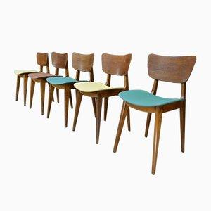 Vintage Oak Chairs by Roger Landault, Set of 5
