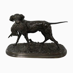 19th Century Bronze of a Hunting Dog by P. J Mêne
