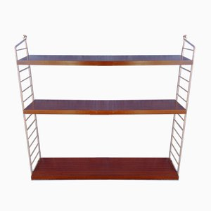 String Wall Unit with 3 Mahogany Veneered Shelves by Kajsa & Nils Nisse Strinning, 1960s