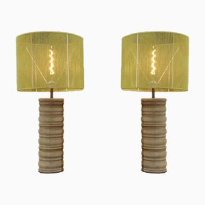Oak Lamps by Charles Dudouyt, 1940s, Set of 2