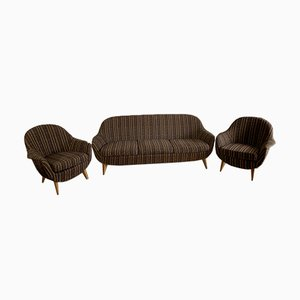 Living Room Set with 2 Armchairs and 1 Sofa, 1950s, Set of 3