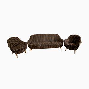 Wohnzimmer Set mit 2 Sesseln und 1 Sofa, 1950er, 3er Set