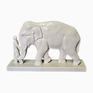 French Art Deco Ceramic Statue of Elephant and Mahout
