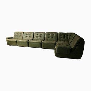 Patinated Patchwork Leather Modular Sofa, 1970s, Set of 6