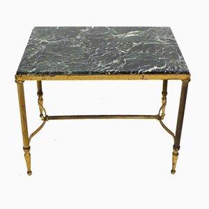 Petite Table Basse en Marbre Doré et Vert