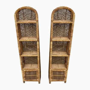 Rattan and Wicker Shelves, 1960s, Set of 2