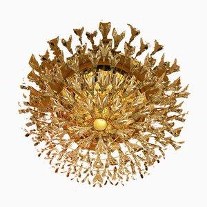 Lampada da soffitto in ottone placcato in oro e cristallo di Stilkronen, Italia, anni '70