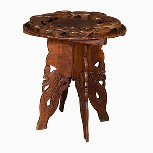 Vintage Chinese Carved Elm Side Table, 1940s