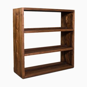 Antique Victorian English Double-Sided Open Bookcase in Pitch Pine