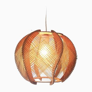 Mid-Century Modern Wooden Ceiling Lamp, France, 1960s
