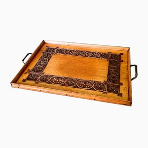 Antique Serving Tray in Carved Wood