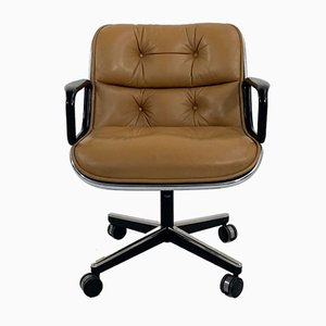 Camel Leather Desk Chair on Wheels by Charles Pollock for Knoll Inc. / Knoll International, 1970s