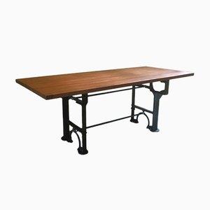 Tavolo da pranzo grande in mogano su base industriale antica