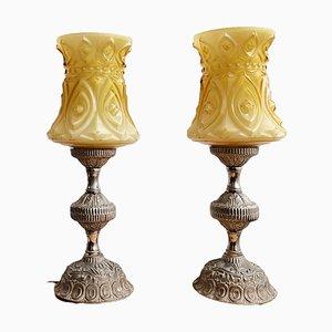 Lampes de Bureau Art Nouveau en Verre Jaune et Laiton, Set de 2
