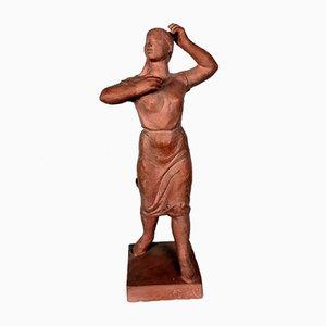 Terracotta Sculpture of a Woman by Olcsai-Kiss, 1960s