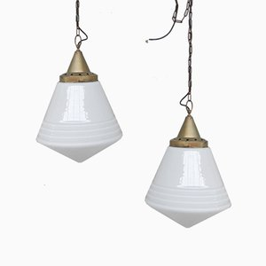 Large Dutch Brass and Opaline Pendant Lamps, Set of 2
