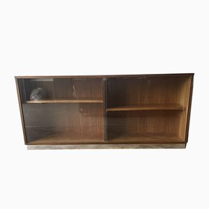 Long Mid-Century Bookcase Sideboard on Chrome Plinth
