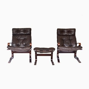 Scandinavian Leather Skyline Lounge Chairs & Ottoman from Hove Mobler, 1970s, Set of 3