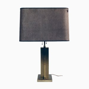 Hollywood Regency Style Architectural Brass Table Lamp, 1970s