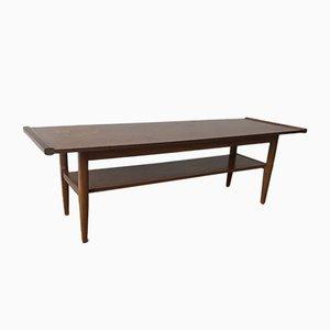 Longue Table Basse Mid-Century en Teck Massif avec Étagère