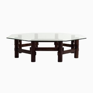 Italian Style Coffee Table in Rosewood with Glass Top