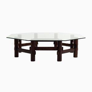 Table Basse Style Italien en Palissandre avec Plateau en Verre