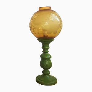 Large Mid-Century Italian Yellow & Green Wood and Glass Table Lamp