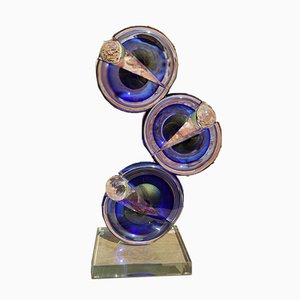 Abstract Pac-Man Sculpture in Murano Glass and Gold by Alberto Donà